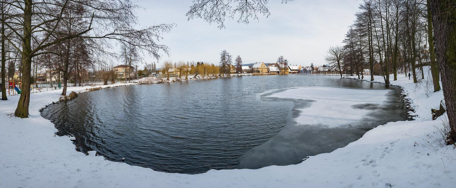 Frozen pond lake in countryside village of Ustek stock images