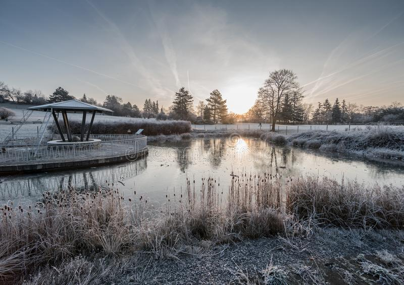 A frozen pond with rising sun. Kravi hora, Brno City, Czech Republic royalty free stock images