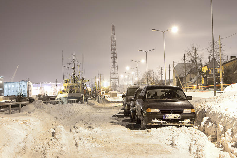 Frozen Port. Shot in February, with -28 degrees if celcius. Klaipeda port, Lithuania royalty free stock photo