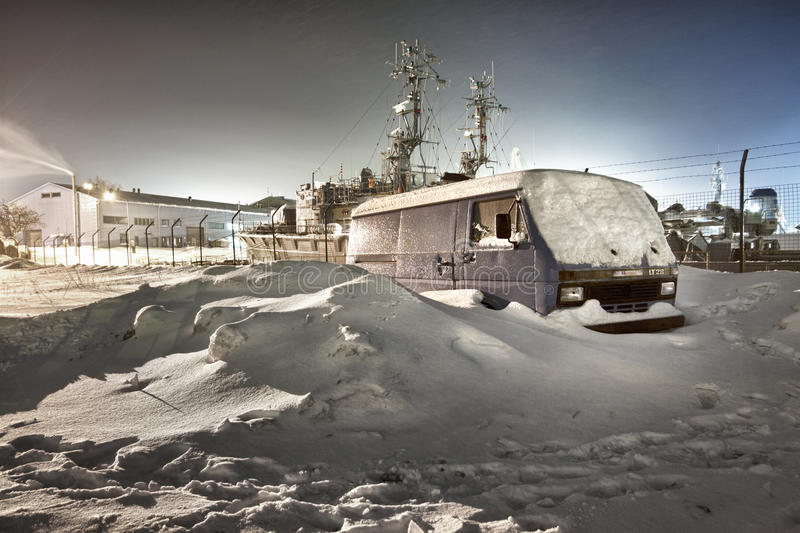 Frozen Port. Shot in February, with -28 degrees if celcius. Klaipeda port, Lithuania stock photo