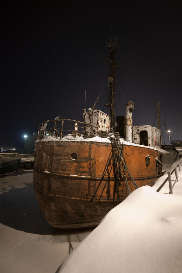 Frozen Port. Shot in February, with -28 degrees if celcius. Klaipeda port, Lithuania royalty free stock images