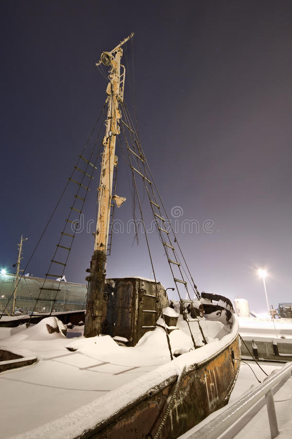Frozen Port. Shot in February, with -28 degrees if celcius. Klaipeda port, Lithuania stock photography