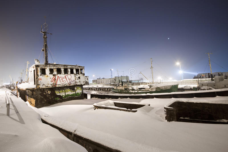 Frozen Port. Shot in February, with -28 degrees if celcius. Klaipeda port, Lithuania stock image