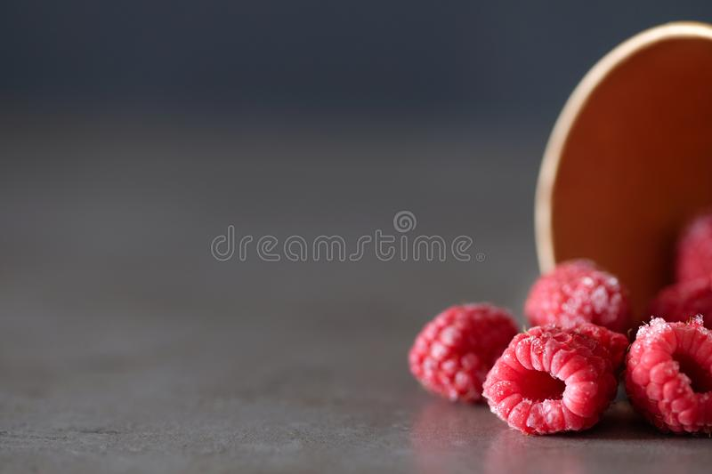 Raspberries in the cup on gray background. Frozen raspberries in the disposable cup on gray background. Place for text stock images