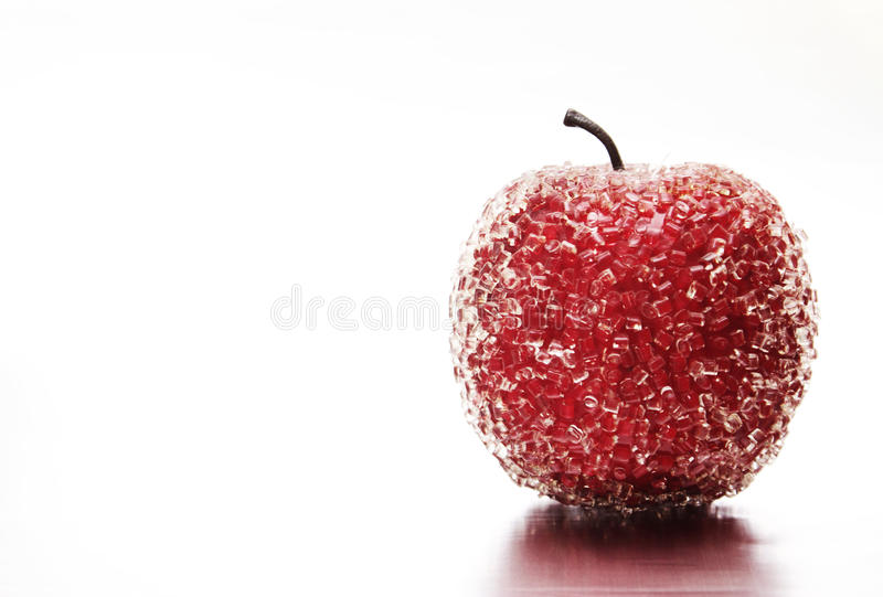 Frozen red apple royalty free stock photo