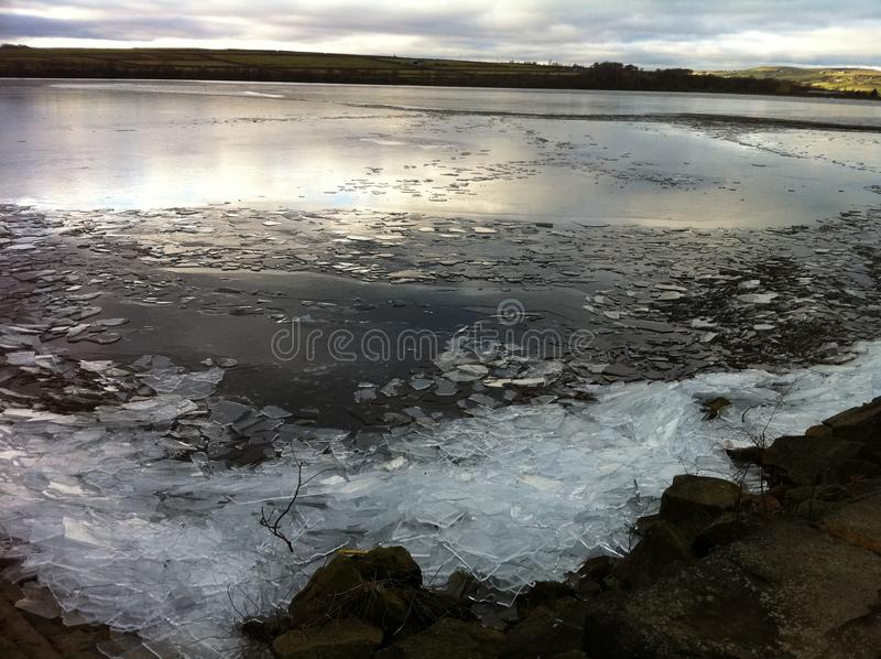 Frozen reservoir stock photo
