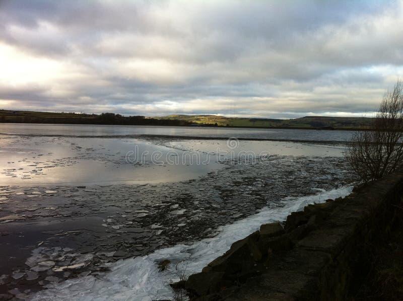 Frozen reservoir royalty free stock image