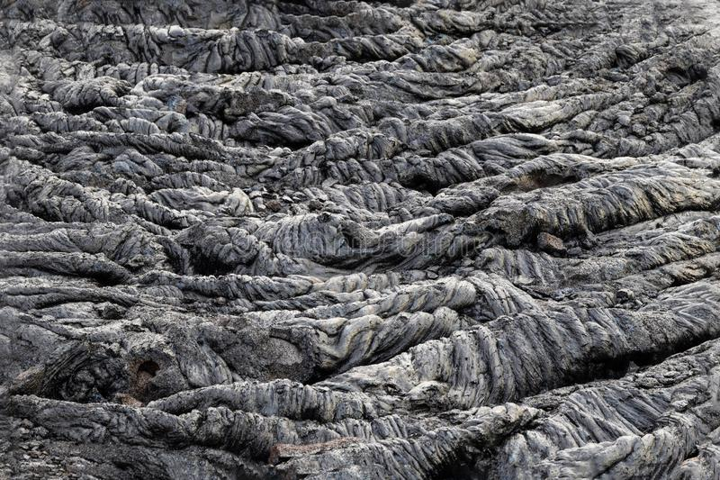 Frozen ripples in pahoehoe lava field, Big Island, Hawaii. Frozen ripples in pahoehoe lava field in Volcano National Park in Hawaii`s Big Island royalty free stock images