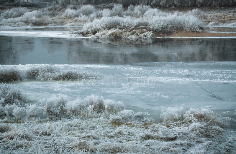 Frozen river stock photography