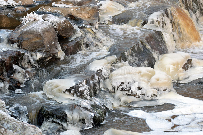 Frozen river. With flowing water and ice stock photography