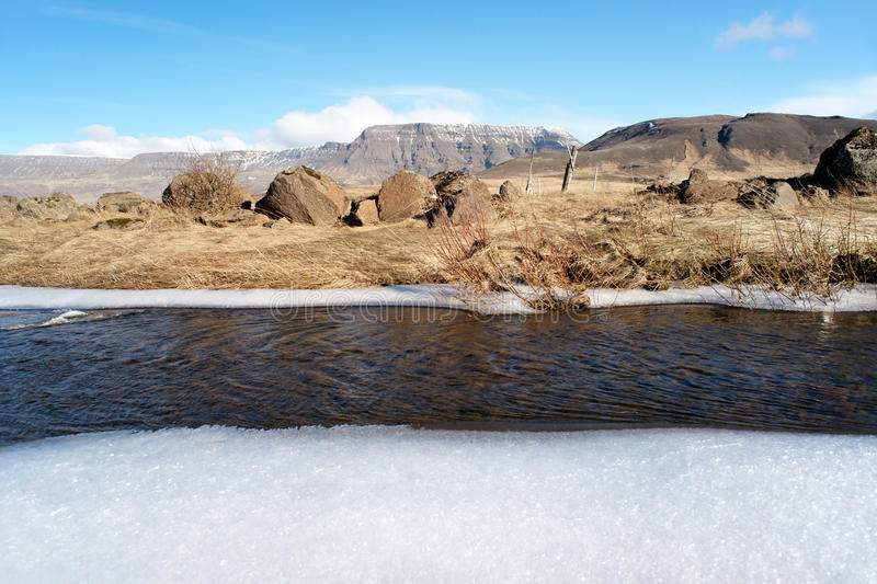 Frozen river, Iceland royalty free stock photography