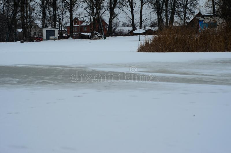 Frozen river Vorskla royalty free stock images
