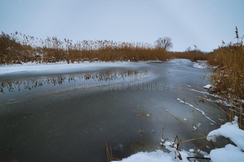 Frozen river at winter time landscape stock photos