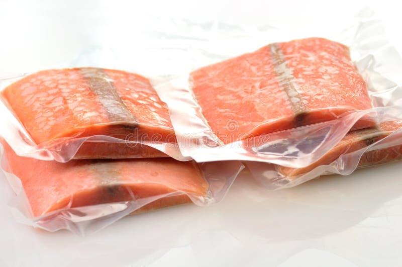 Frozen salmon stock photo