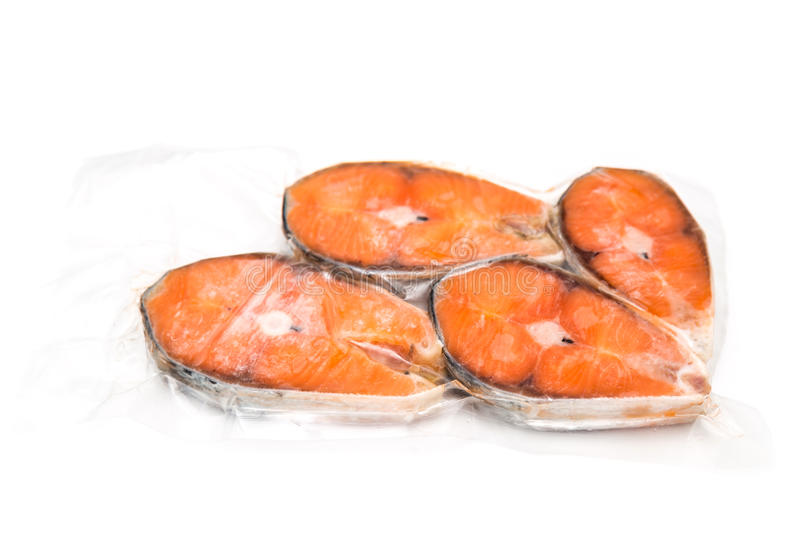 Frozen salmon fillets royalty free stock image