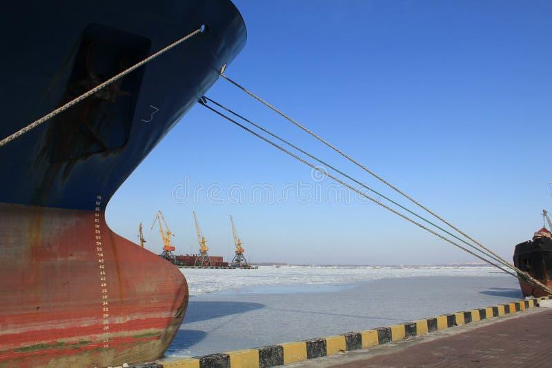 Frozen sea port in Odessa stock photo