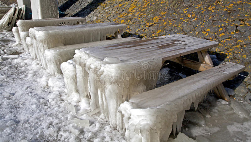 Frozen seats in Afsluitdijk. Major causeway in Netherlands royalty free stock photography