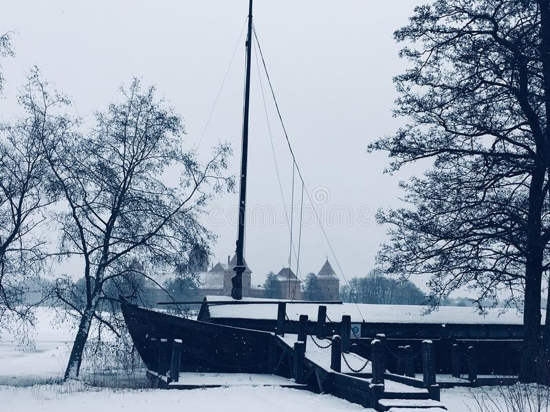 Frozen ship royalty free stock photography