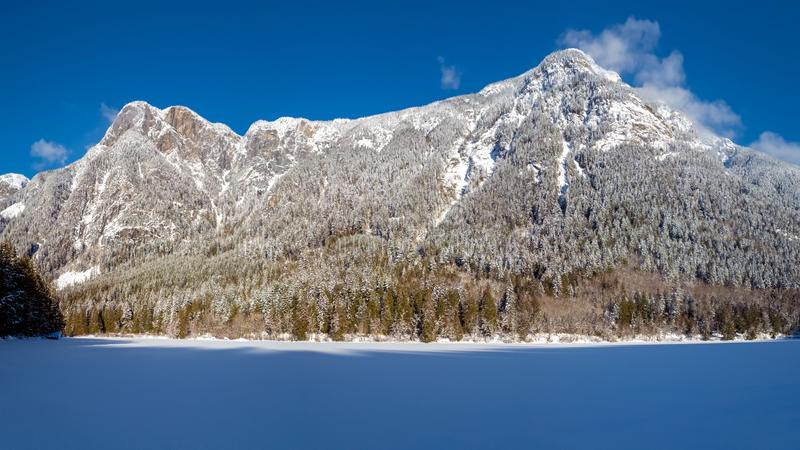 The frozen Silver Lake in the Silver Lake Provincial Park royalty free stock photos