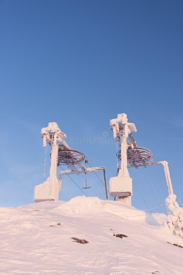 Frozen Ski Resort Elevators Stock Photo