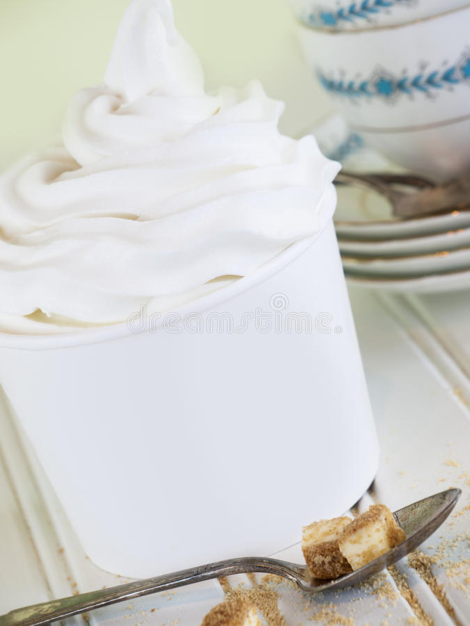 Frozen Soft Serve Yogurt. stock images