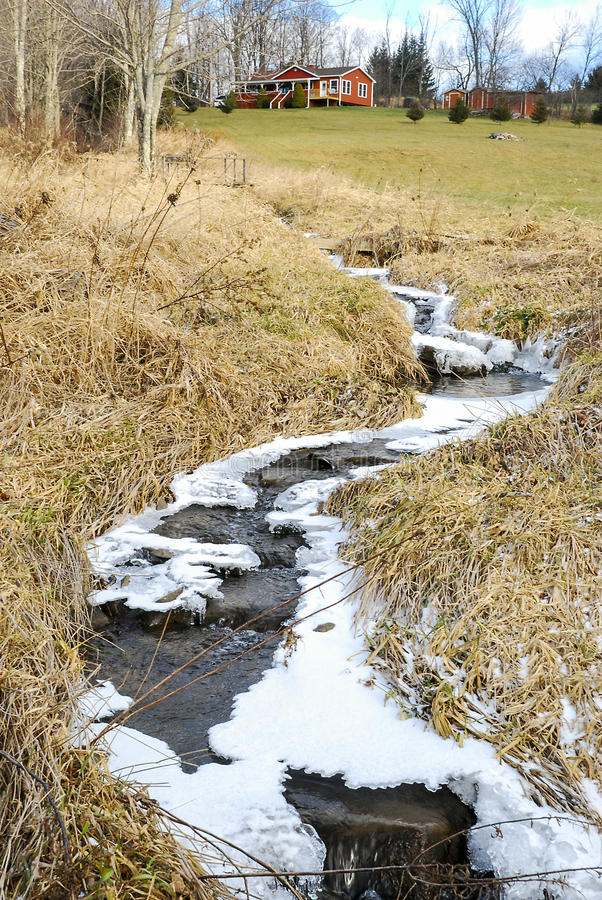 Frozen Stream by Country Cottage. Partly frozen babbling brook in front of country house on hill stock photo
