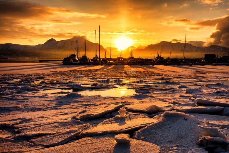 Frozen sunset. Over water in the Lofoten island, Norway stock photos