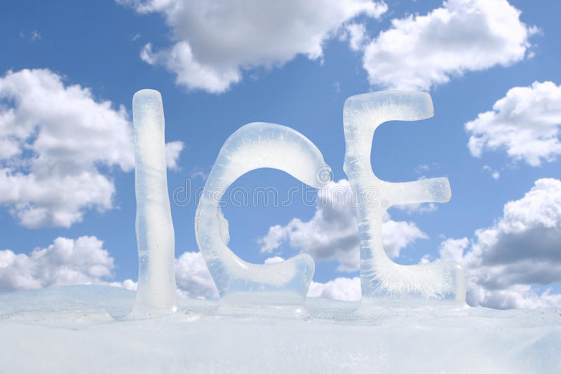 Frozen text ICE stock photo