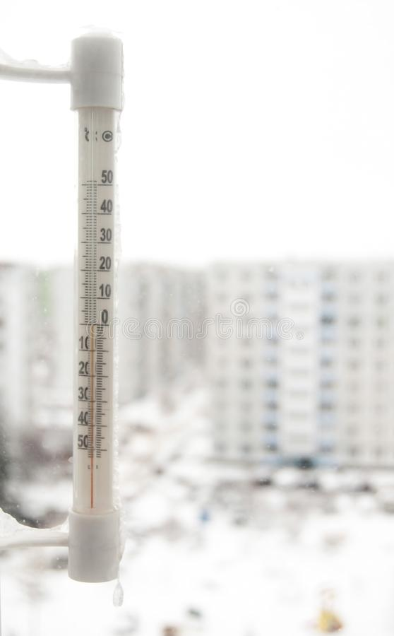 Frozen thermometer stock image