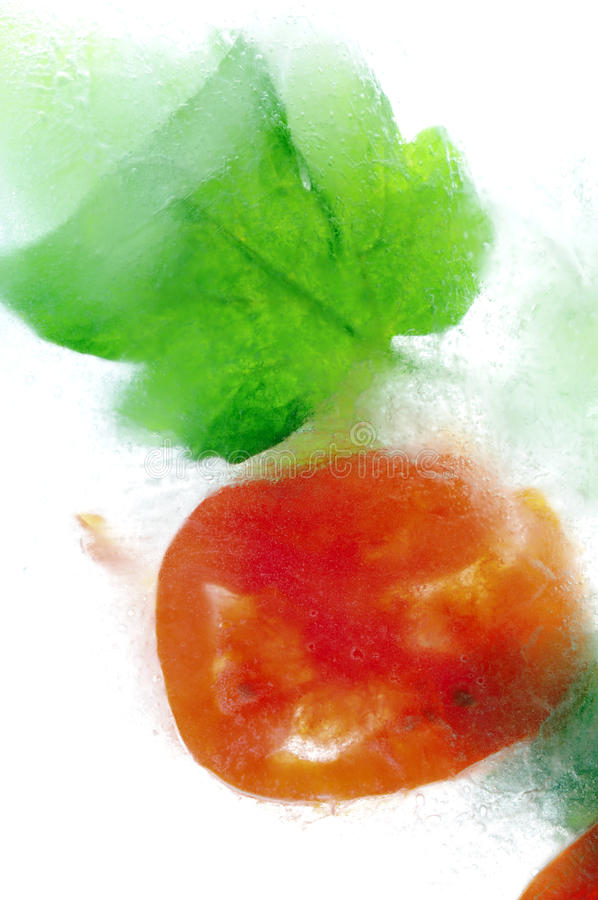Frozen Tomato stock photo