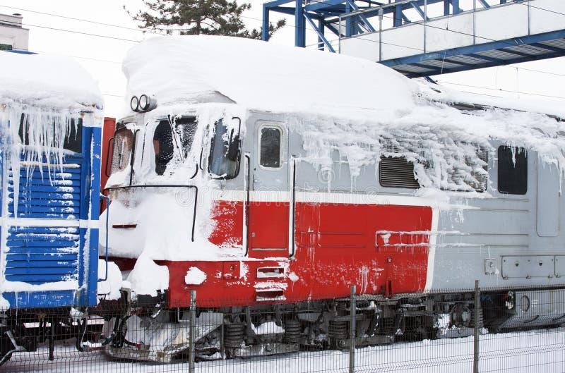 Frozen train stock image