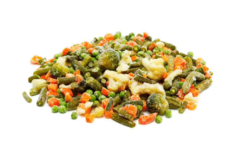 Frozen vegetables. On a white background royalty free stock photos