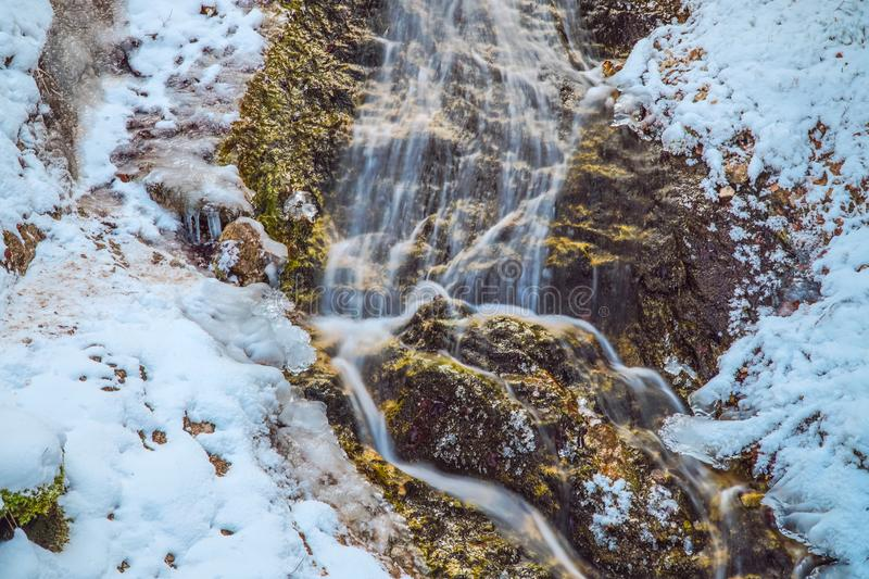 Frozen water fall in the bavarian alps mountains. Frozen water fall bavarian alps mountains stock photos