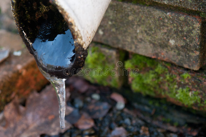 Frozen water pipe. With ice in winter royalty free stock photos