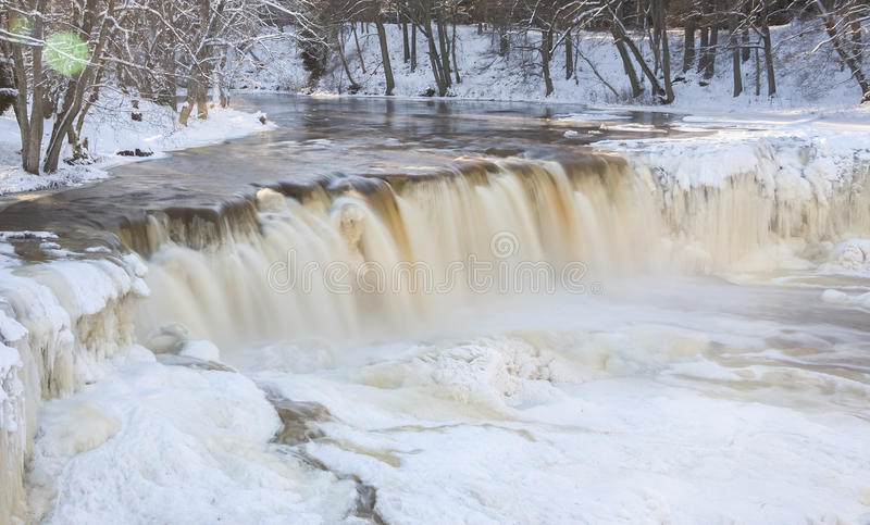 Frozen waterfall in Estonia stock photography