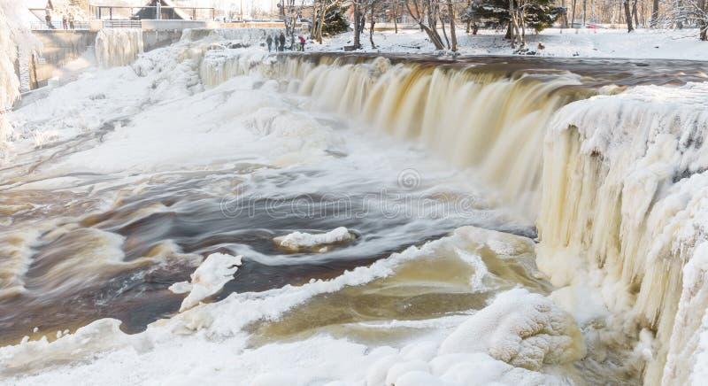 Frozen waterfall in Estonia stock photo