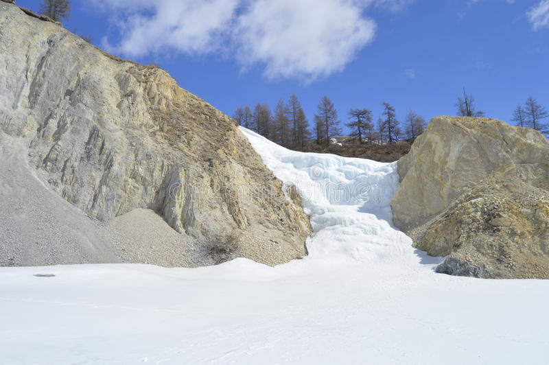 A frozen waterfall. stock image