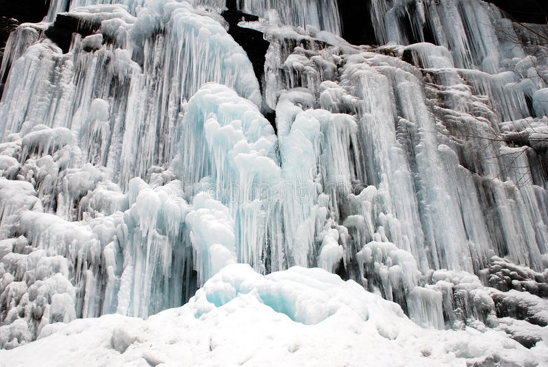 Frozen waterfall and Snow royalty free stock photo