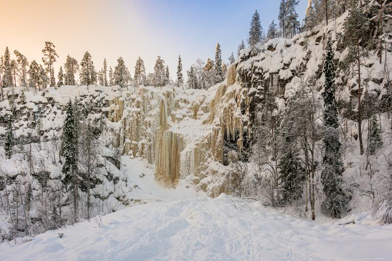 Frozen waterfalls in Lapland country in arctic Finland, Scandinavia. Frozen waterfalls in the Lapland country in northen arctic Finland, Scandinavia royalty free stock image