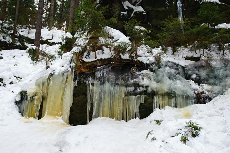 Frozen waterfalls and snow stock photo