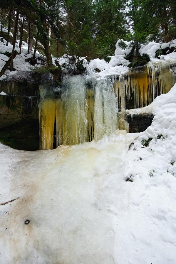 Frozen waterfalls and snow royalty free stock photography