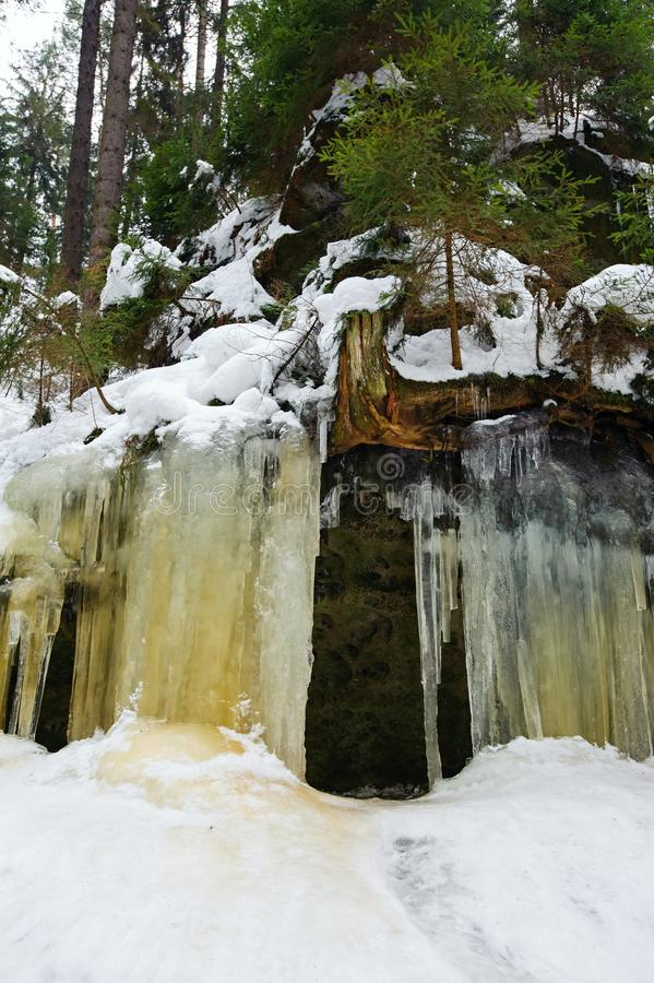Frozen waterfalls and snow royalty free stock photos