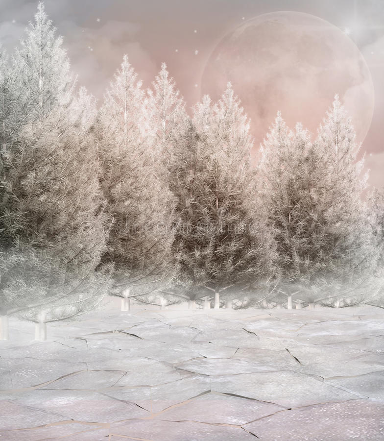 Frozen winter forest. Fantasy enchanted winter forest. Computer generated illustration stock illustration