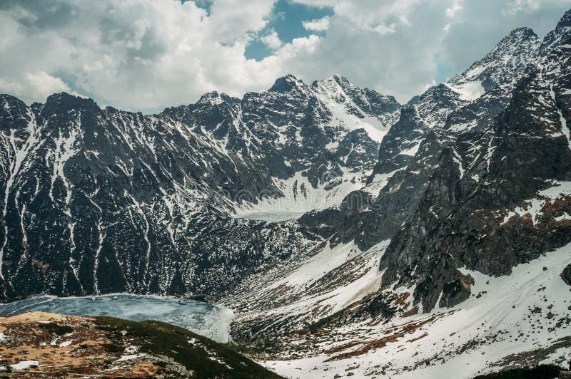 Frozen winter lake in scenic mountains, Morskie Oko, Sea Eye, Tatra National. Park, Poland royalty free stock image