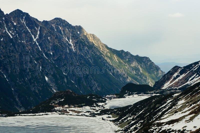 Frozen winter lake in scenic mountains, Morskie Oko, Sea Eye, Tatra National. Park, Poland stock photography