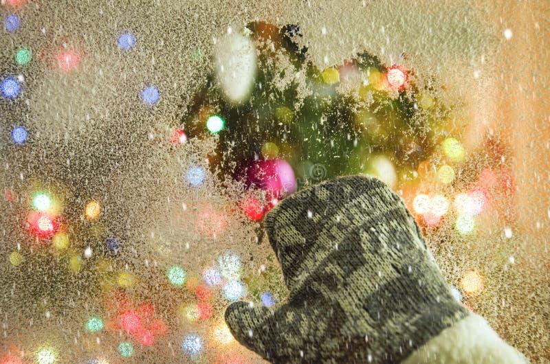 A frozen winter window overlooking the Christmas tree, stock photos