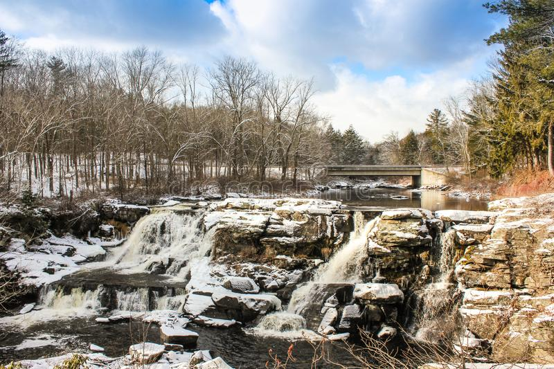 Extreme winter conditions in Pocono Mountains. The frozen winter wonderland in Pocono Mountains stock images