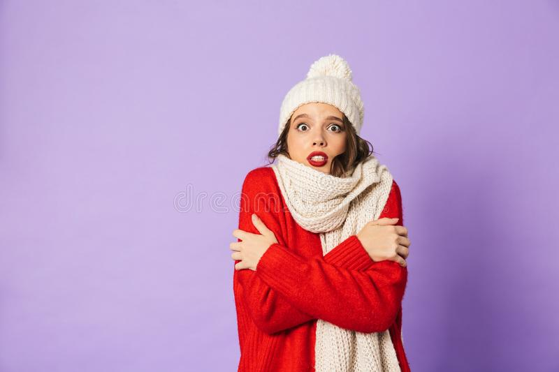 Frozen woman wearing winter hat and scarf isolated over purple background. Portrait of a young frozen woman wearing winter hat and scarf isolated over purple royalty free stock photo
