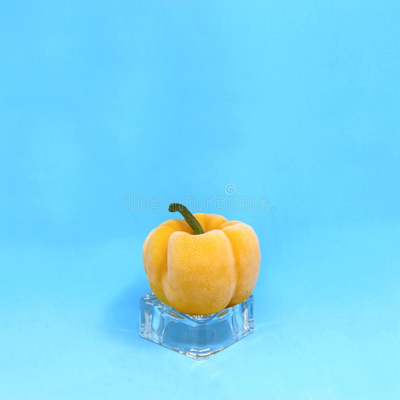 Frozen yellow pepper on ice cube stock photography