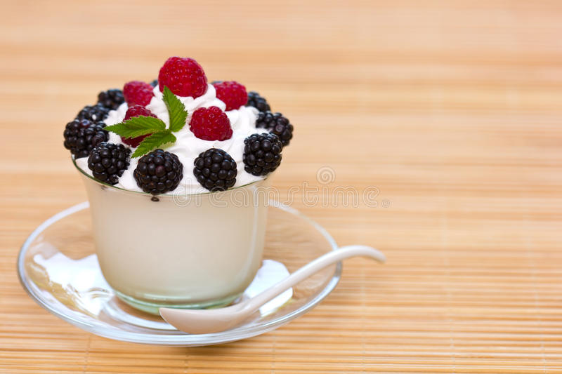 Frozen yogurt. In the glass royalty free stock photos
